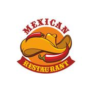 Mexican restaurant vector icon emblem Stock Illustration