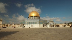 Steadicam walking shot of Dome of the Rock on Temple Mount in Jerusalem Stock Footage