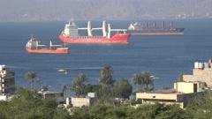 Cargo vessels in the Red Sea in Aqaba, Jordan Middle East Stock Footage