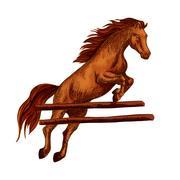 Horse jumping symbol for equine sport horserace Stock Illustration