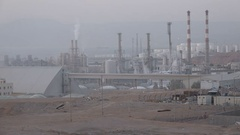 Heavy industry, phosphate mining distribution center Aqaba, Middle East Stock Footage