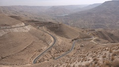Lonely car drives over the impressive King's Highway in Jordan, Middle East Stock Footage