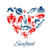 Seafood poster in heart shape vector symbol Stock Illustration