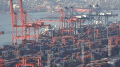 Industrial container terminal in Busan, South Korea Stock Footage
