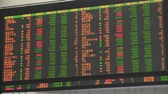 Financial data of major stock indices in South Korea on electronic ticker board Stock Footage