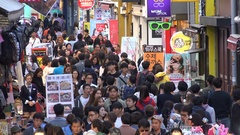Massive crowds visit a popular shopping district in Seoul city, South Korea Stock Footage