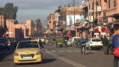 Early morning traffic scene in central Marrakesh, Morocco Stock Footage
