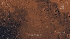 MRO mapping flyover of western section of Mare Tyrrhenum Region, Mars  Stock Footage