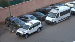 Riot police vehicles deployed on the streets of Marrakesh in Morocco Stock Footage