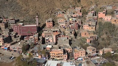 View of a small town nestled in the Atlas mountain in Morocco Stock Footage