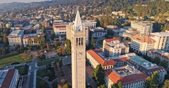 Aerial of berkeley university &  The Cal Campus Campanile Stock Footage