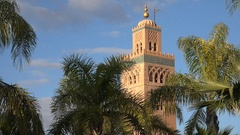 Minaret of the Koutoubia mosque in Marrakech, Islamic architecture Morocco Stock Footage