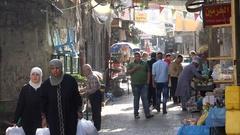 Food stores in narrow alley bazaar old Nablus city, Palestinian Territories Stock Footage