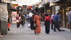 Gold and jewelry shops in Nablus bazaar, West Bank Stock Footage