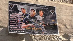 Propaganda banners militant Palestinians in streets Nablus Stock Footage