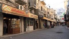 Gold shopping street in Nablus central bazaar, Palestinian Territories Stock Footage