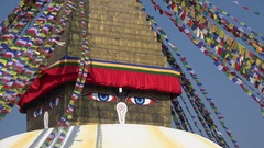 Eyes of the Buddhist Bodnath temple complex in central Kathmandu, Nepal Stock Footage