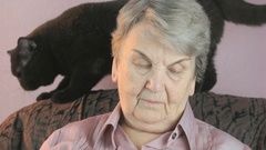 Old woman sits at a armchair next to a black cat Stock Footage