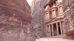 Treasury building carved in a sandstone cliff in Petra, Jordan Stock Footage