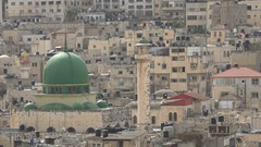 Historic mosque in residential neighborhood Nablus city, West Bank Stock Footage