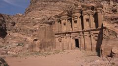 Monastery building in ancient city Petra, Jordan Stock Footage
