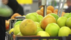Concept healthy lifestyle and vegetarianism. Apples closeup in supermarket Stock Footage