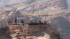 Alternative cafe on top of a mountain near Petra in Jordan Stock Footage