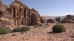 Historic Monastery building in historic city Petra, Jordan Stock Footage