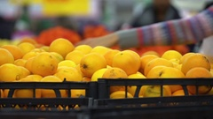Concept healthy lifestyle and vegetarianism. Oranges closeup in supermarket Stock Footage