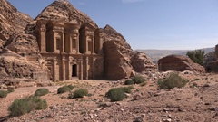 Famous cliff side carvings of the Monastery in the ancient city of Petra Stock Footage