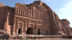 Decayed facade of a building in the archaeological city of Petra Stock Footage