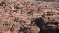 Caves formerly used as homes in the ancient city of Petra Stock Footage