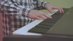 Close Up Of Young Handsome Guy Playing Piano Synth Cool Vintage Look Stock Footage