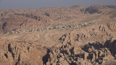 Small village in remote mountain setting in Jordan, Middle East Stock Footage