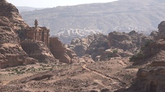 Beautiful sandstone carvings of iconic Monastery building in Petra Stock Footage