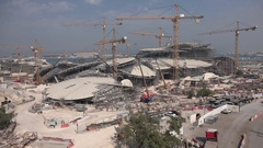Massive construction site (for the new National Museum) in Doha, Qatar Stock Footage
