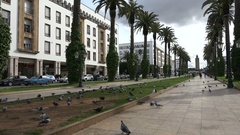 Establishing shot of a park in the center of Rabat city, Morocco Stock Footage