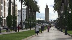 People visit a park in central Rabat city, Morocco Stock Footage