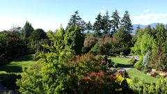 Top shot of people sightseeing and taking picture at Queen Elizabeth Park Stock Footage