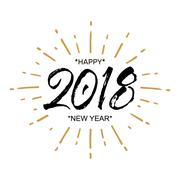 2018 Happy New Year. Beautiful greeting card calligraphy black text word gold Stock Illustration