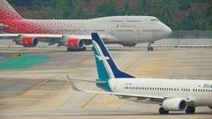 Phuket airport traffic Stock Footage