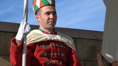 Soldier on horse back at mausoleum king Mohammed V in Rabat Stock Footage