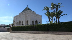 Facade of the mausoleum of King Mohammed V in Rabat, Morocco Stock Footage