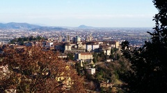 Bergamo - Old city. Landscape of the old city from San Vigilio hill Stock Footage