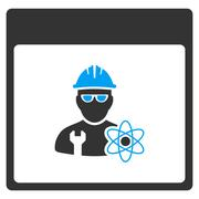 Atomic Engineer Calendar Page Vector Toolbar Icon Stock Illustration