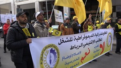 Labor union protest for better working rights and education, Rabat Morocco Stock Footage