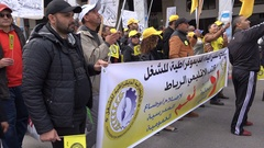 Moroccan protesters hold banners in streets Rat Stock Footage