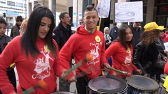 Moroccan drum band plays music during political demonstration Stock Footage