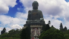 Big Buddha in Hong Kong and Tourists. Time Lapse Stock Footage