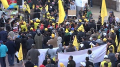 Crowds of people take part in peaceful political protest in Morocco Stock Footage